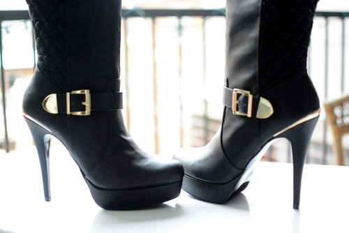 Black Yemay  tall boots, White Myona White Ankle Boots