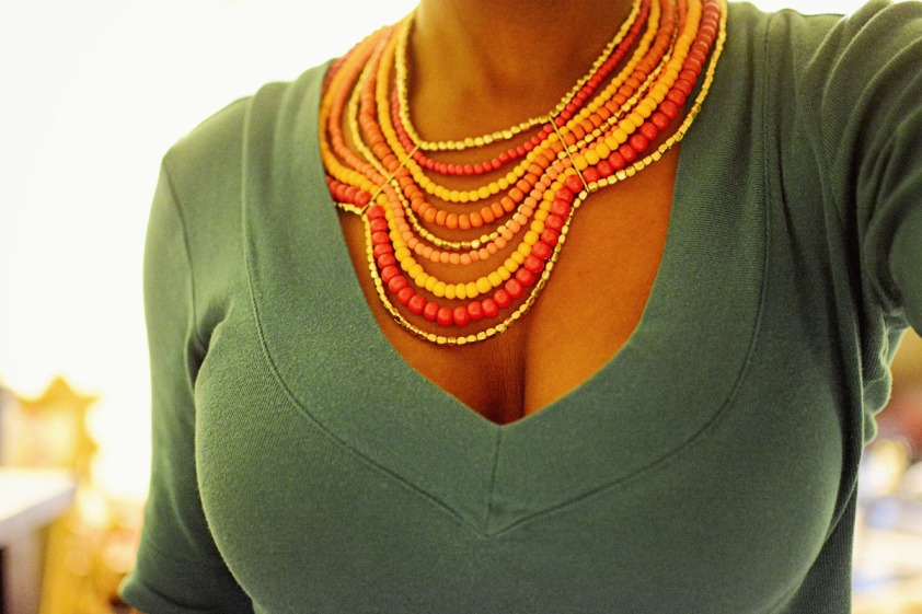 Tribal wooden bead necklace