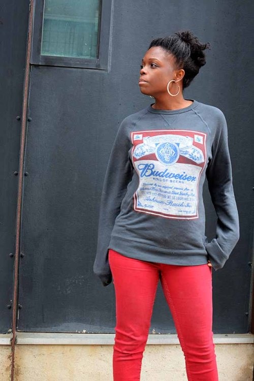 Aldo, Urban Outfitter, Budweiser Sweater, Guess Earrings