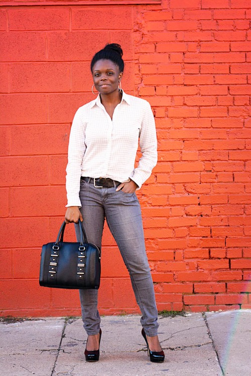 Ralph Lauren Windowpane Top, Aldo Bag, Enzo Shoes, Guess
