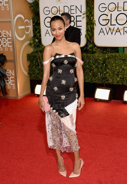 Zoe Saldana worst dress 2014 Golden Globes