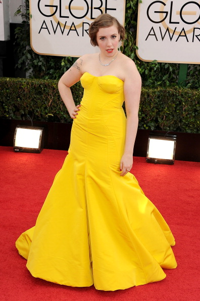Golden Globes, Lena Dunham, yellow Dress