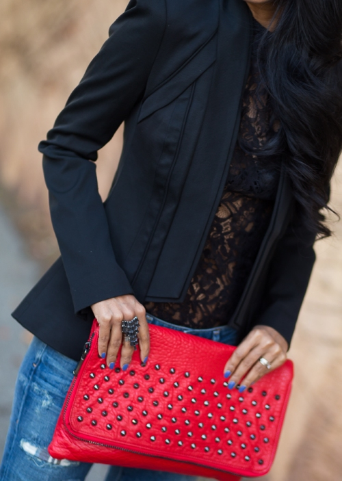 Blazer and Red Clutch