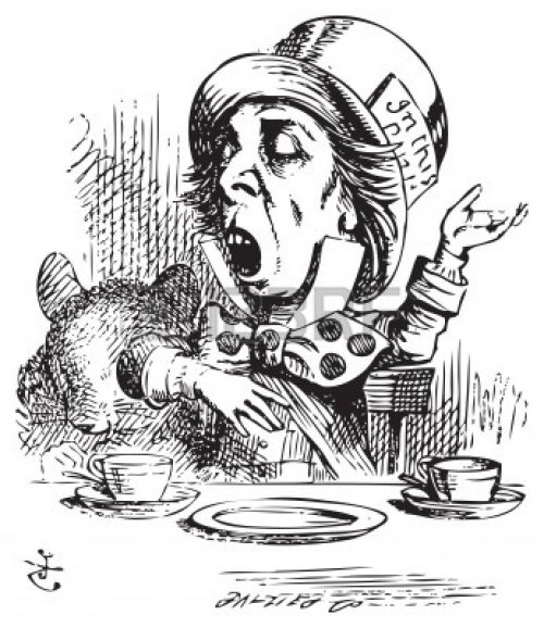 Mad Hatter black and White