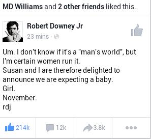 Robert Downey Jr Baby Announcement